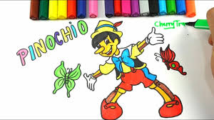 how to draw disney pinochio and mickey mouse coloring pages