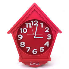 house shape wall clock decorative cabin type timepiece creative