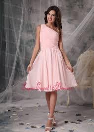 light pink knee length dress pink empire one shoulder knee length chiffon dama dresses for sweet 16