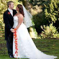 Wedding Wrist Corsage Autumn Wedding Flowers Trailing Wrist Corsage Of Orange Rose Petals