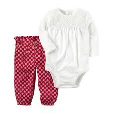 New England Patriots Newborn Clothes Carter U0027s Embroidered Lace Bodysuit U0026 Patterned Pants Set