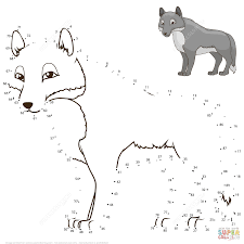wolf dot to dot free printable coloring pages