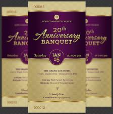 banquet program templates church anniversary banquet ticket template on behance