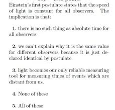 Speed Of Light Constant Einstein U0027s First Postulate States That The Speed Chegg Com