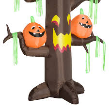homcom halloween inflatable decoration ghost tree 2 4m 6 led
