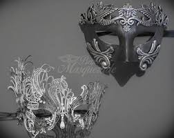 masquerade masks for couples his hers couples masquerade mask silver filigree metal