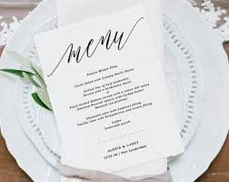 pages menu template printable menu etsy