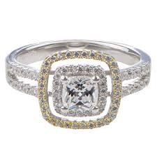 two engagement ring hazel s cushion cut two tone halo engagement ring