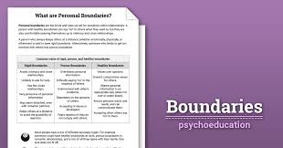 boundaries info sheet worksheet therapist aid