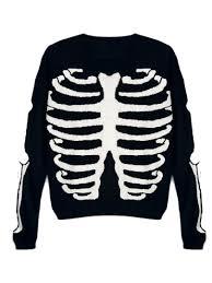 Halloween Skeleton Top by Fun Halloween Daytime Sweater Black Knit Sweater With Rib Pattern