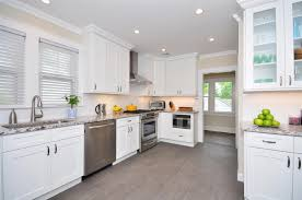 ice white shaker kitchen cabinets idea that complemented by