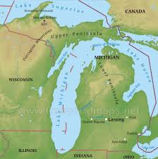 Physical Map Of Canada by Physical Map Of Michigan