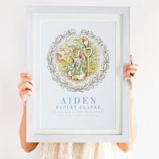 classic rabbit personalised classic rabbit christening print for boys or