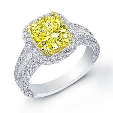 fancy yellow diamond engagement rings 3 61 ct canary fancy yellow diamond pave halo engagement ring si1