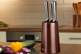 5pc swan stainless steel kitchen knife block set 2 colours