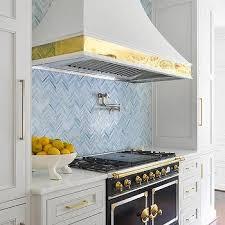 Blue Herringbone Kitchen Backsplash Tiles Design Ideas - Blue backsplash