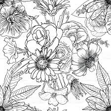 doodle floral drawing seamless pattern wallpaper art therapy
