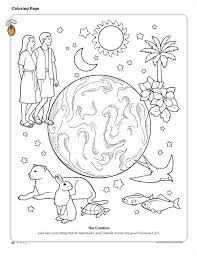 the creation coloring page depicting the earth adam and eve