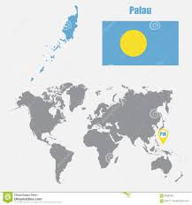Palau Map Palau Kaart Op Een Wereldkaart Met Vlag En Kaartwijzer Vector