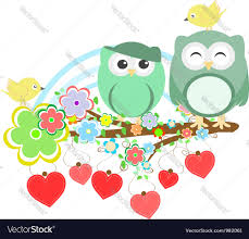 two owls and bird on the flower tree branch vector image