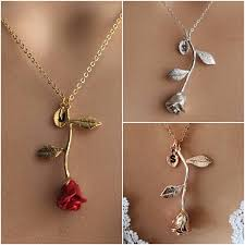 rose necklace gold images Original beauty and the beast rose necklace rose gold rose jpg