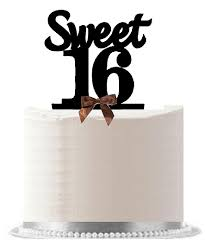 sweet 16 cake topper 16 16th birthday brown bow cake decoration cake topper