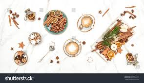 christmas cookies coffee festive table decoration stock photo