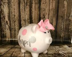 silver piggy bank for baby silver piggy bank etsy