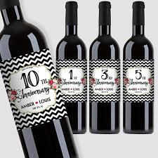 anniversary wine bottles custom marriage milestones anniversary wine bottle label set