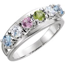 6 mothers ring six birthstone split shank mothers ring