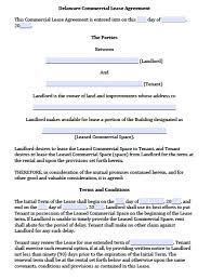 free delaware commercial lease agreement template u2013 pdf u2013 word