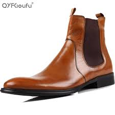 wholesale high quality italian genuine leather boots men slip on