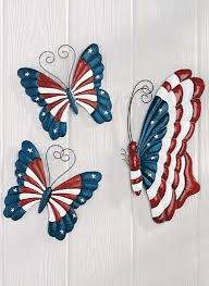 3 patriotic white blue butterfly wall fence decor metal garden