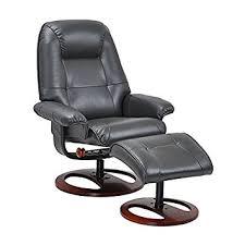 Swivel Chair And Ottoman Oneida Black Leather Reclining Swivel Chair W Ottoman