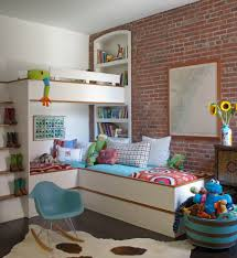 corner bunk beds kids industrial with brick wall built in bookcase