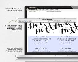Wedding Programs Images Wedding Program Template Instant Download