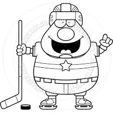 cartoon hockey player man idea black and white line art by cory