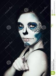 Sugar Skull Halloween Makeup Woman With Halloween Makeup Sugar Skull Beautiful Model Stock