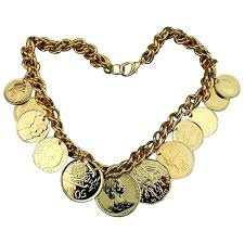 charm necklace vintage images Vintage faux gold coin charm necklace american airlines jpg