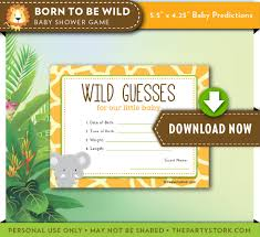 instant download baby shower invitations safari baby shower prediction card printable cards born to