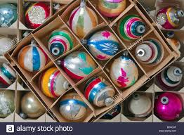 three boxes of vintage ornaments from the 1960 s stock