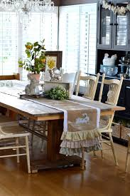 Dining Room Table Runners Spring Burlap Table Runner With Appliqué Bunnies
