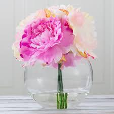 peony arrangement willa arlo interiors peony arrangement in glass vase reviews wayfair