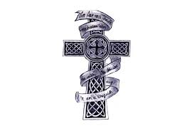 cross tattoo with ribbon banner pictures to pin on pinterest
