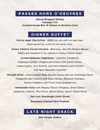 Sample Buffet Menus by Testa Catering Weddings