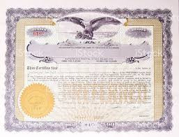 old us stock certificate with eagle medallion american company
