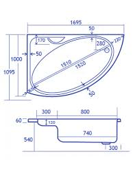 carron swan offset corner right hand bath 1700 x 1000mm carron swan offset corner right hand bath 1700 x 1000mm technical drawing qs v34587 cacsw175palh