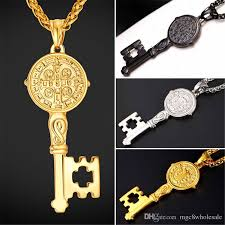 new necklace charms images Wholesale u7 new saint benedict medal key pendant necklace charms jpg