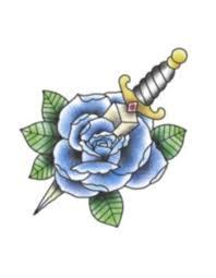 blue rose with dagger temporary tattoo u2013 tattooednow ltd