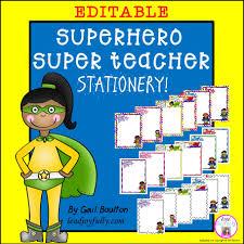 superhero u201csuper teacher u201d editable stationery